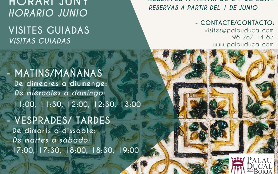 PALAU DUCAL DELS BORJA WILL REOPEN ITS DOORS IN JUNE ON THE 6TH.